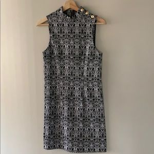 High neck patterned shift dress